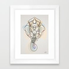 One Line Ganesh Framed Art Print
