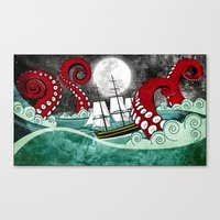 kraken Canvas Prints featuring Kraken by Beth Naeyaert