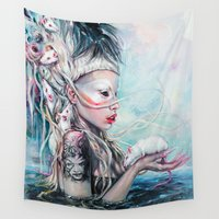 rat Wall Tapestries featuring Yolandi The Rat Mistress 	 by Tanya Shatseva