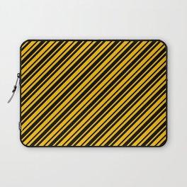Amber Orange and Black Diagonal RTL Var Size Stripes Laptop Sleeve