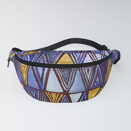 Indigo Blue Gold Tribal Ethnic Triangles Pattern Fanny Pack