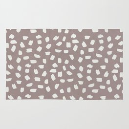 Simply Ink Splotch Lunar Gray on Red Earth Rug