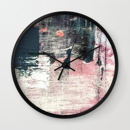 Sweet tooth [7]: a colorful abstract mixed media piece in pink, blues, and white Wall Clock
