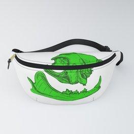 Cat Skull 6 (lime green) Fanny Pack
