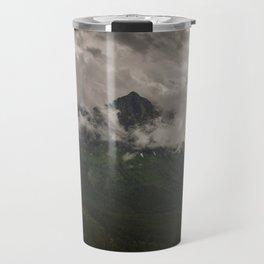 Mount Oberlin and Bird Woman Falls, Glacier National Park Travel Mug