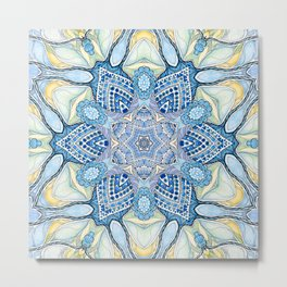 Blu star mandala Metal Print