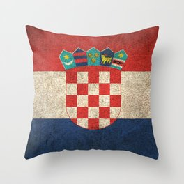 Old and Worn Distressed Vintage Flag of Croatia Throw Pillow
