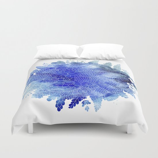 Blue Floral Pattern 03 Duvet Cover