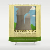 simpsons Shower Curtains featuring Silver Screen Tourism: SPRINGFIELD, USA / THE SIMPSONS by Stone Heart Media