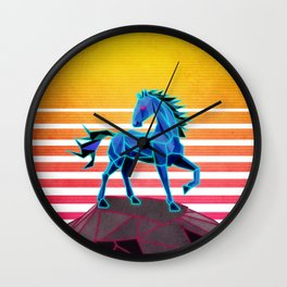 Synthwave neon retro majestic horse Wall Clock