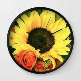 Big Country Sunflower and Classic Red Roses Wall Clock