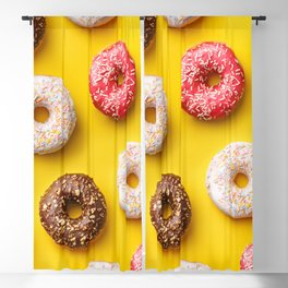 Donut lovers - delicious donuts on yellow background Blackout Curtain