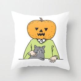 Pumpkinhead & cat Throw Pillow