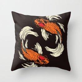 Two Koi Throw Pillow