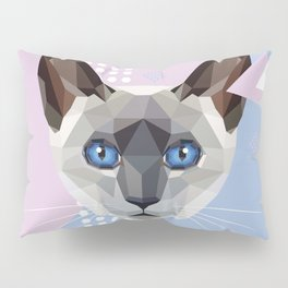 Siamese Cat in Memphis style Pillow Sham