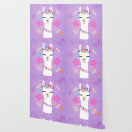 Cute Happy Llama - Purple Boho Alpaca with Flowers Wallpaper