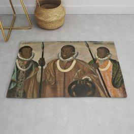 1599 Renaissance African Masterpiece 'Los tres mulatos de Esmeraldas' by Andres Galque Rug
