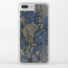 Faded Denim Florals Clear iPhone Case