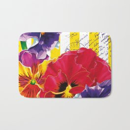 Yellow Stripes and Flowers Bath Mat