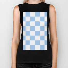 Large Checkered - White and Baby Blue Biker Tank