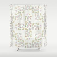 shoes Shower Curtains featuring Shoes by Lena Pflüger Illustration