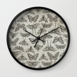 Lepidoptera Beige Wall Clock