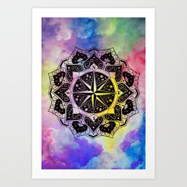 """Rose of the Winds""  WATERCOLOR MANDALA (HAND PAINTED) BY ILSE QUEZADA Art Print"