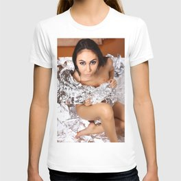 Cute nude girl posing naked on silver background. T-shirt