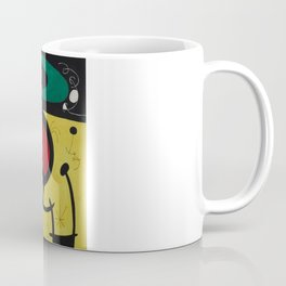 Joan Miro Vol Doiseaux, 1968, Flight of Birds Encircling the 3 Haired Woman on a Moon, Artwork, Prin Coffee Mug