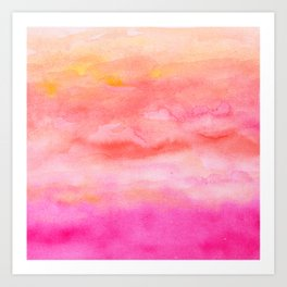 Bright pink orange sunset watercolor hand painted Art Print