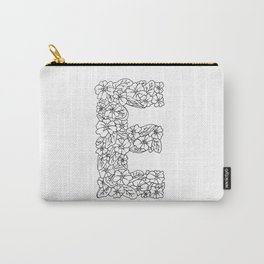Floral Type - Letter E Carry-All Pouch