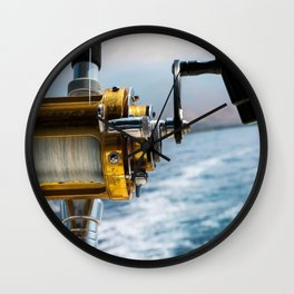 Deep Sea Off the Coast of Maui Fishing Reel Wall Clock