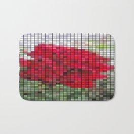 Red Rose Edges Mosaic Bath Mat
