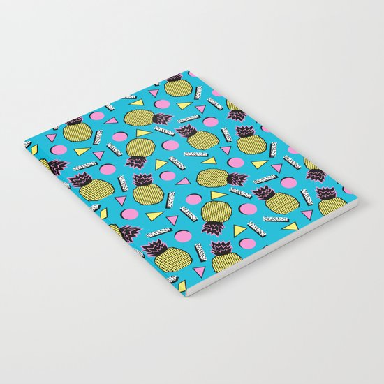 Primo - memphis retro throwback 1980s 80s neon style pop art wacka designs pineapple tropical fruit Notebook