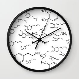 chemical structure for happiness Wall Clock