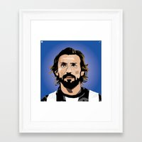 juventus Framed Art Prints featuring Andrea Pirlo Illustration by Stephanie Post