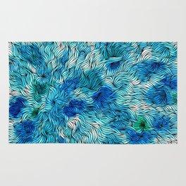 Blue watercolor seaweed design Rug