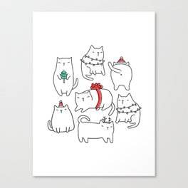 Fat Christmas cats Canvas Print
