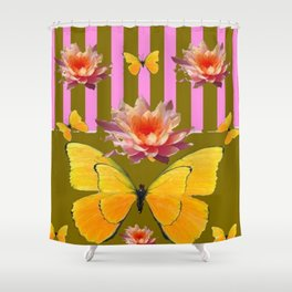 PINK WATER LILIES STRIPED BUTTERFLY PATTERNED ART Shower Curtain