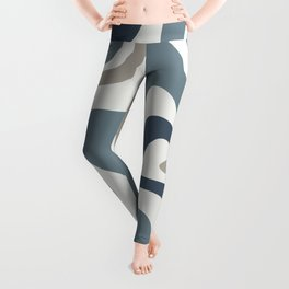 Liquid Swirl Abstract Pattern in Neutral Blue Gray on Off White Leggings