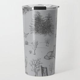 Eurasian Wolf Toile Pattern (Gray) Travel Mug