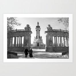 Couple at Madrid monument Art Print