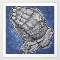 Blue Praying Hands Art Print
