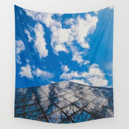 Cloud reflection in the Louvre Pyramid Wall Tapestry