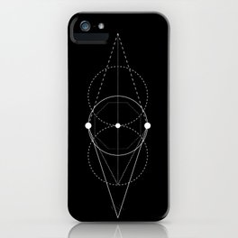 Mixed geometry black iPhone Case