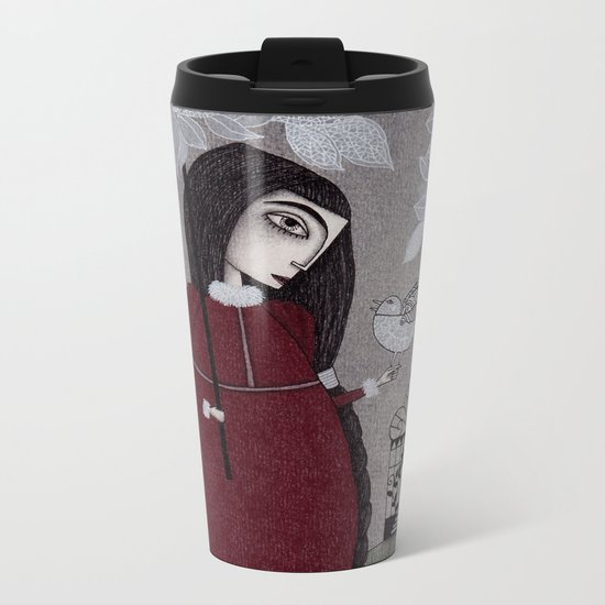 Winterbird, or Hope is a Thing With Feathers Metal Travel Mug