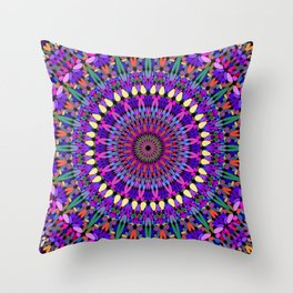 Bohemian Blossom Mandala Throw Pillow