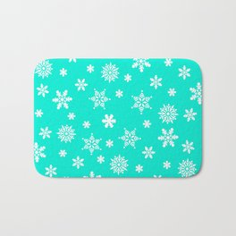 Snow Flurries-Frosty Blue Bath Mat