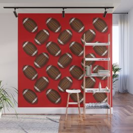 Sporty Footballs Design on Red Wall Mural
