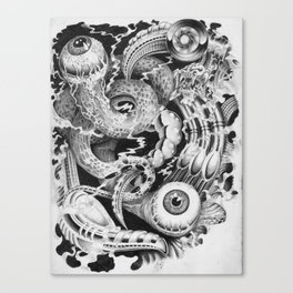 Biomech Worm Hole Canvas Print